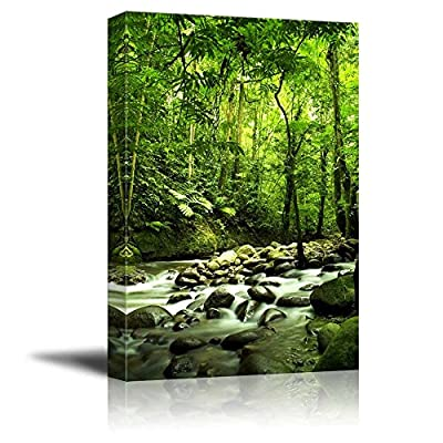 Canvas Prints Wall Art - Beautiful Scenery/Landscape Green Forest and River | Modern Home Deoration/Wall Art Giclee Printing Wrapped Canvas Art Ready to Hang - 24