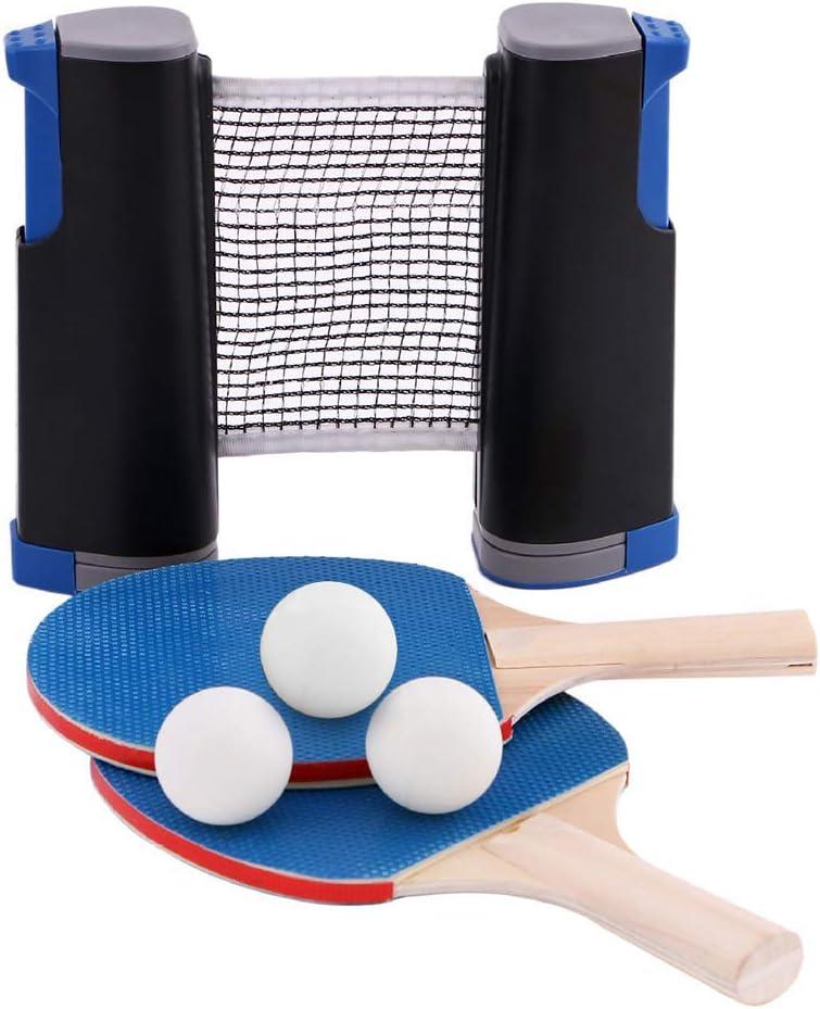 HJX888 Conjunto de Pingpong Set Portátil,Juego de Ping Pong con 2 Raquetas + 3 Bolas Pelotas Tenis de Mesa + 1 Red Retráctil,para Interior al Aire Libre Regalo