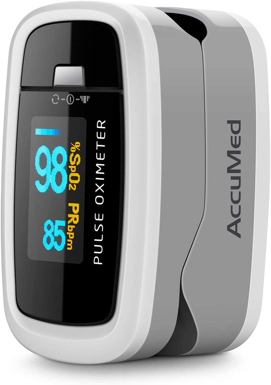 AccuMed CMS-50D1 Fingertip Pulse Oximeter Blood Oxygen Sensor SpO2 for Sports and Aviation. Portable and Lightweight with LED Display, 2 AAA Batteries, Lanyard and Travel Case (White)