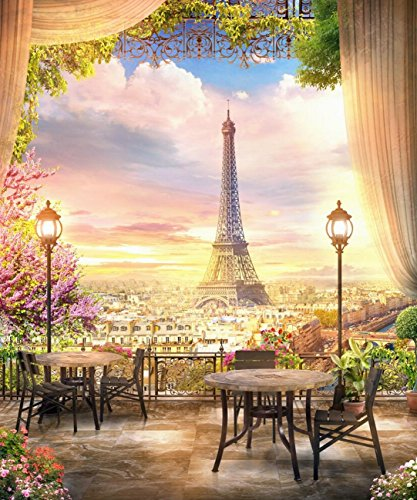 - 8x10ft Eiffel Tower Beautiful View Balcony Cafe On the Paris Backdrop Photography Background Girl Bride Adult Artistic Portrait French Travel Wedding Photo Shoot Studio Props