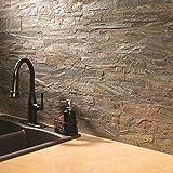 "Aspect Peel and Stick Stone Overlay Kitchen Backsplash - Weathered Quartz (5.9"" x 23.6"" x 1/8"" Panel - approx. 1 sq ft) - Easy DIY Tile Backsplash"