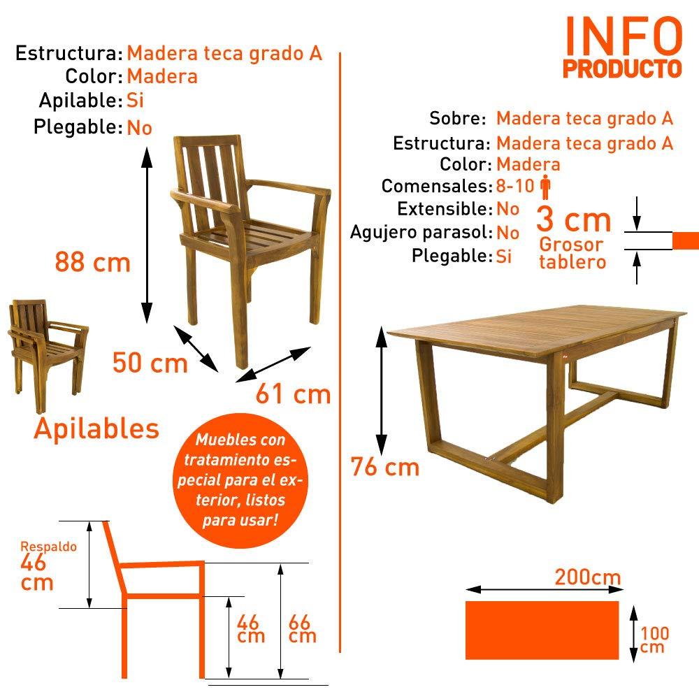 Edenjardi Conjunto Muebles Teca | Mesa de 240 cm de Largo y 6 sillones apilables | Madera Teca Grado A | Tratamiento al Agua aplicado | Portes Gratis