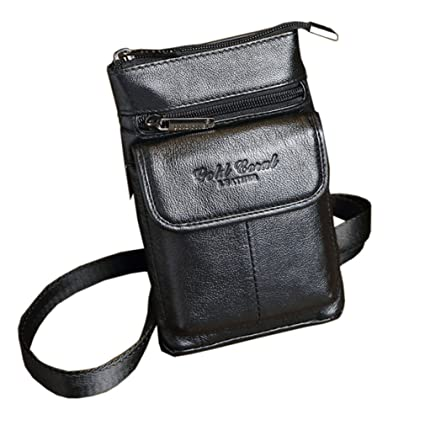 c7f1721f4d90 Hebetag Small Leather Belt Bag Phone Wallet Purse for Men Loop Holster Case  Waist Pack Travel