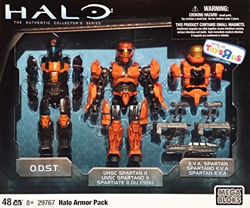 [Mega Bloks Halo Armor Pack [29767] 6 Inch Magnetic Action Figure with ODST, UNSC Spartan II & EVA Spartan] (Halo Spartan Suit For Sale)