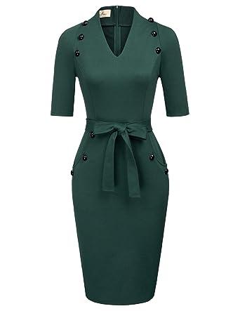 f6e699ee5b Women's Official V Neck Half Sleeve Chic Business Sheath Dress S Green