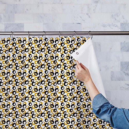 Four Panel Natural Framed Screen (ArtzFolio AZ Gold & Black Drawing Washable Waterproof Shower Curtain 54 x 84inch; SET OF 2 PCS)