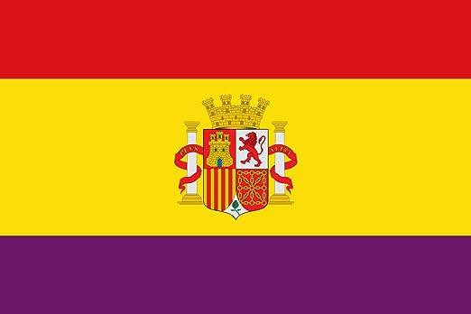 magFlags Bandera Large Española Republicana con Las Proporciones de la Bandera Española Actual | Bandera Paisaje | 1.35m² | 90x150cm: Amazon.es: Jardín