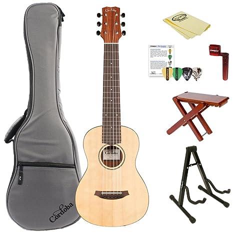 Cordoba Mini M en miniatura guitarra acústica guitarra cuerdas de nailon (con funda, soporte