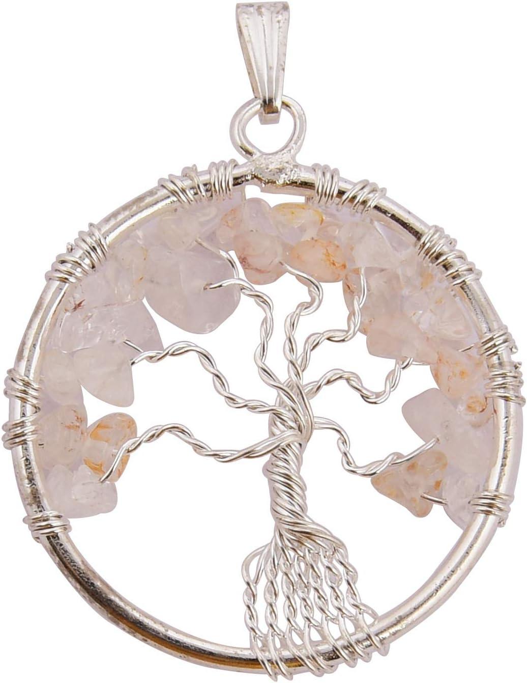 Blessfull Healing Reiki Healing Gemstone Collar de árbol de la vida Cuarzo rosa Forma de círculo Colgante envuelto en alambre