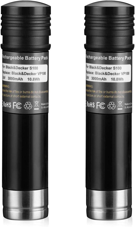 Abaige 3.6V 3000mAh Ni-Mh Replacement Batteries for Black and Decker Versapak Gold VP100 VP100C VP105 VP105C VP110 VP110C VP143 Vp142 Vp7240 2Pack