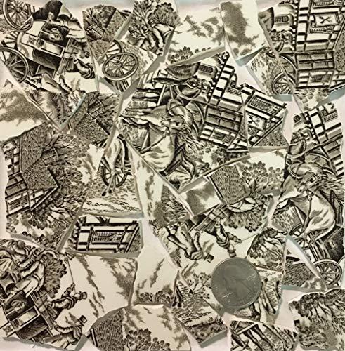 Mosaic Art & Crafts Supply ~ Brown & White Vintage Transferware Tiles (B918)