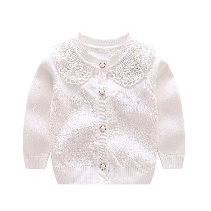 Girls White Cotton Knit Cardigan