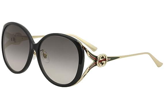 1f358fb23b8cf Amazon.com  Gucci GG 0226 SK- 001 BLACK   GREY GOLD Sunglasses  Clothing