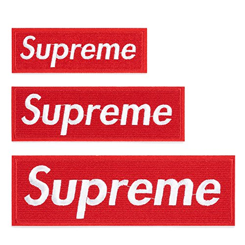 3 Pack Supreme Patches Sew on or Iron on Multi Size Patch Embroidered DIY Applique Badge Decorative (Red)