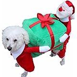 YIZYIF Ropa de Navidad Chaqueta de Perro Mascota Cosplay de Papá Noel Disfraz de Navidad con Caja de Regalo para Perro Gato Otoño Invierno