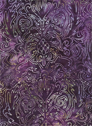 Robert Kaufman Violet, Grape Hyacinth Purple, Amethyst Tie Dye Batik ~ HALF YARD!! ~ Java Block Printed (Tjap Stamped) Fleur-De-Lis Bali Tie Dye (Ikat) Batik Gradation ~ Quilt 100% Cotton 44