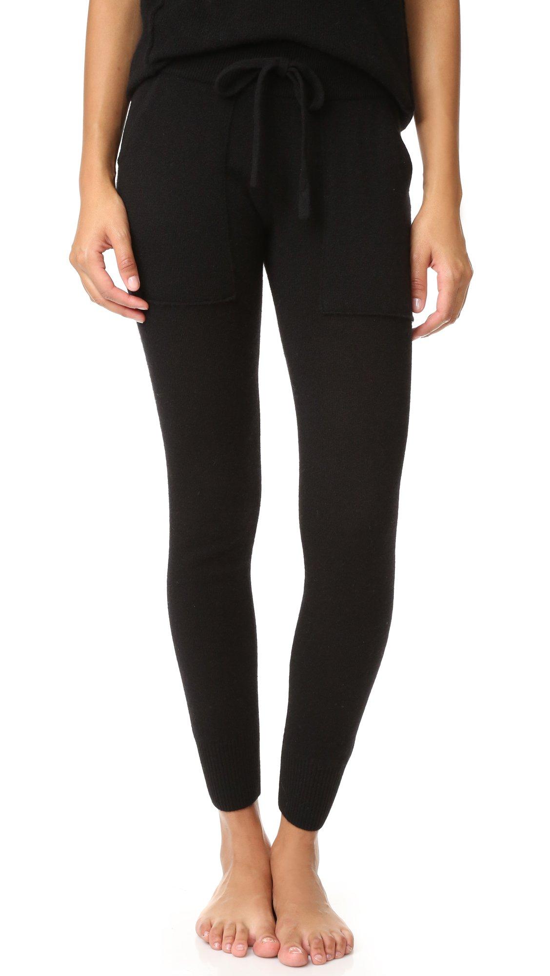 White + Warren Women's Essential Cashmere Pants, Black, Medium