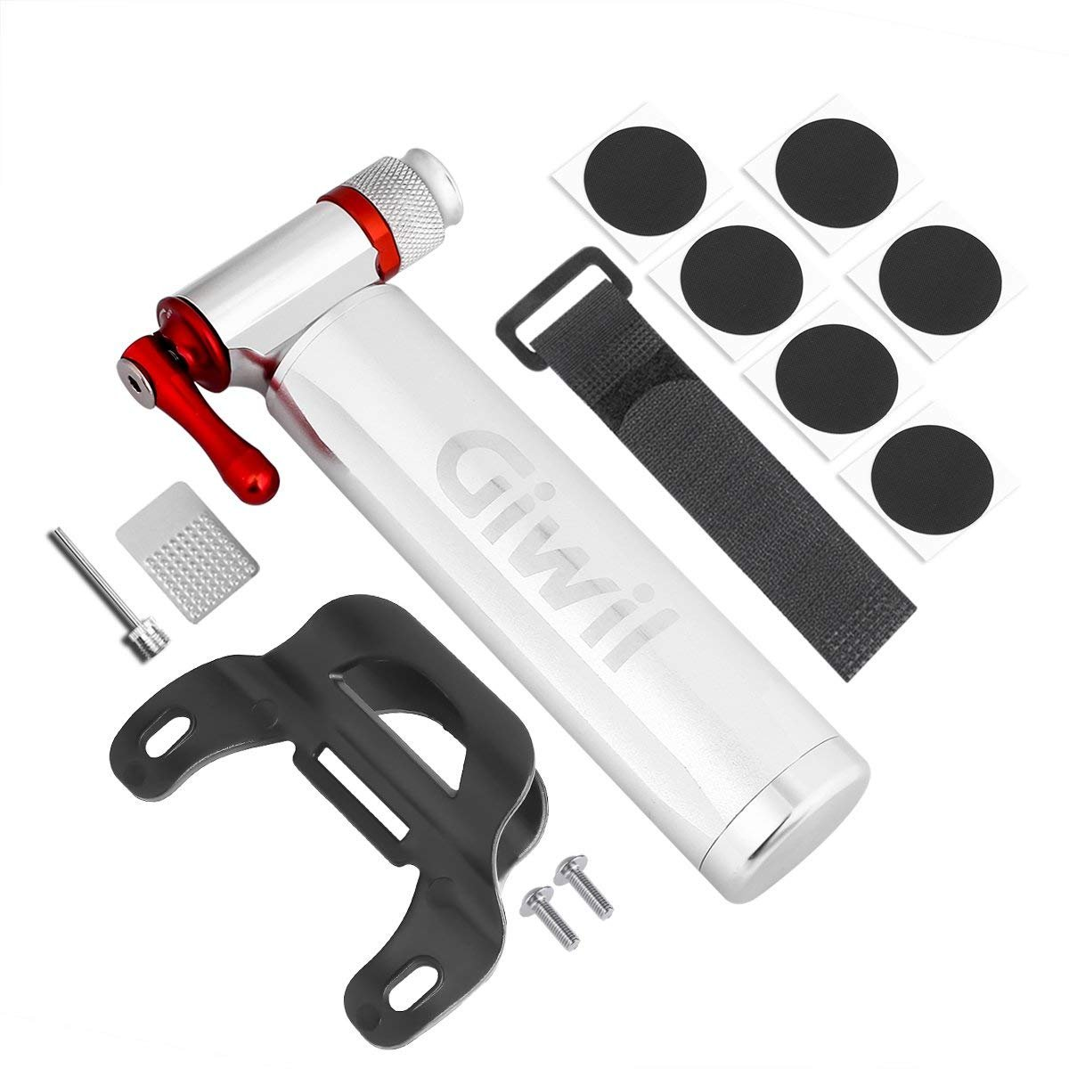 Giwil CO2 Inflator with Glueless Puncture Kit - Fits Presta and Schrader Valve, Quick & Easy, Bicycle Tire Pump for Road & Mountain Bikes, Metal Storage Canister, No CO2 Cartridges Included.