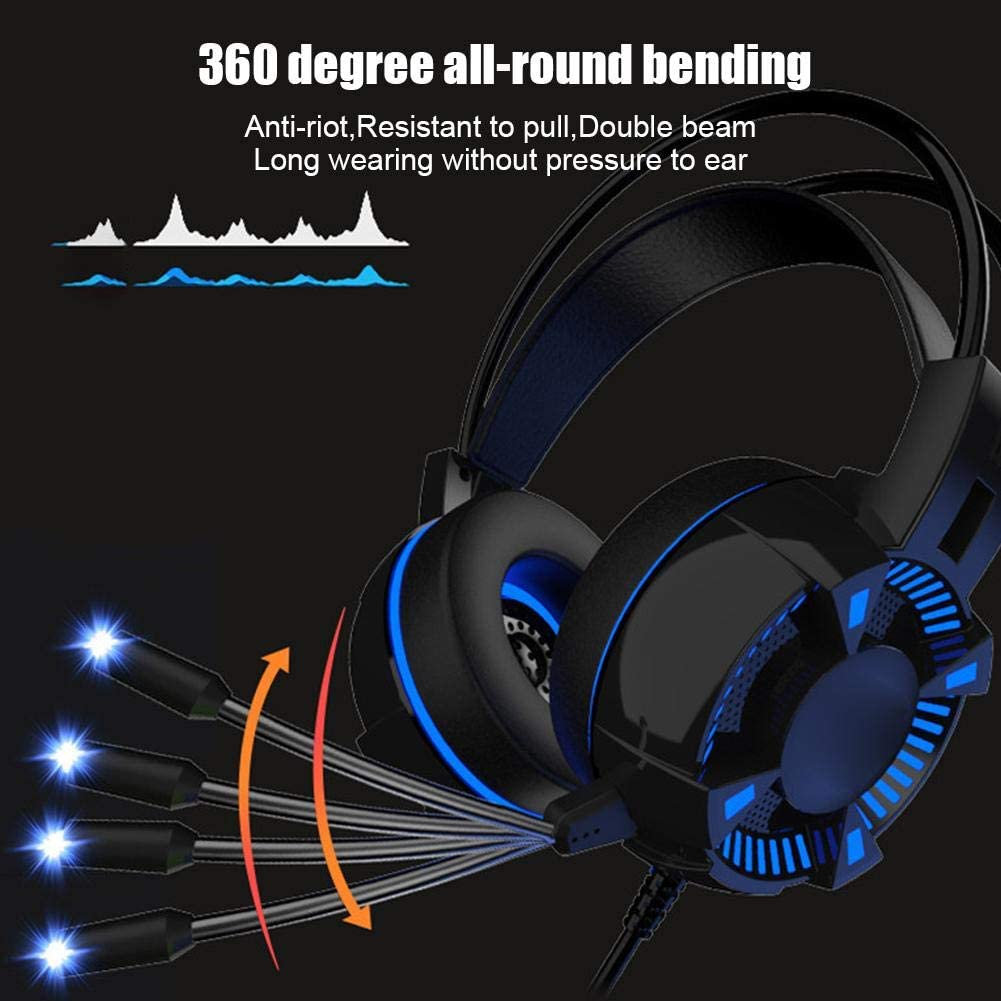 ASHATA Gaming Headphone,Computer Accessory Headset-Style Luminous Headphone with HD Microphone,Music Esports Bass Gaming Headset for PS4 Game