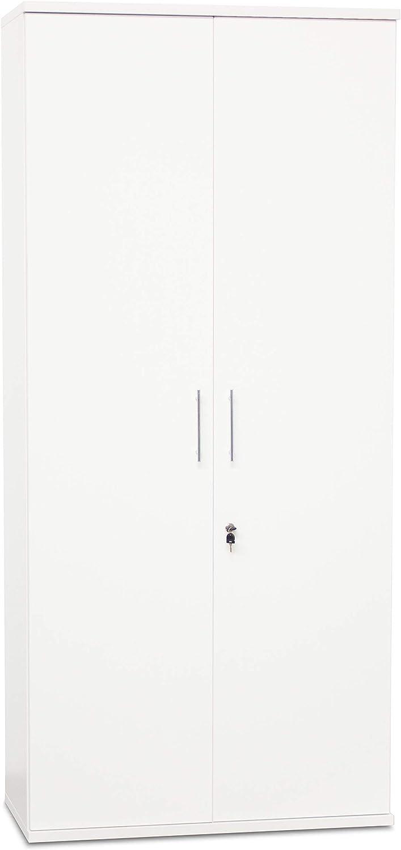 OFICINAS MONTIEL Armario Alto Madera Blanca con Puertas para Almacenaje en Dormitorio, Salón, Oficina, Despacho (Alto_200cm, Blanco)