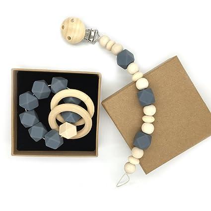 Coskiss Madera bebé Mordedor anillo de madera Chupete clip Orgánica de madera Montessori juguete de silicona Perlas de mordedores para bebés Mordedor ...