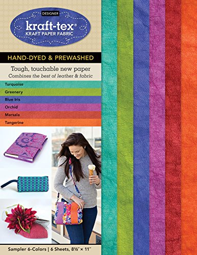 kraft-tex Sampler 6-Colors Hand-Dyed & Prewashed: Kraft Paper Fabric, 6-Sheets 8.5