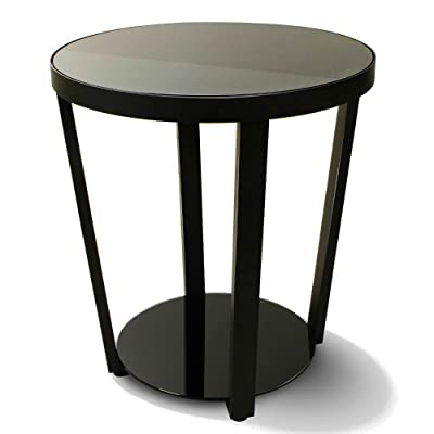 Chairside Accent Table With Shelf Carbon Steel Tempered Glass Round Black Large  Side Table For Living