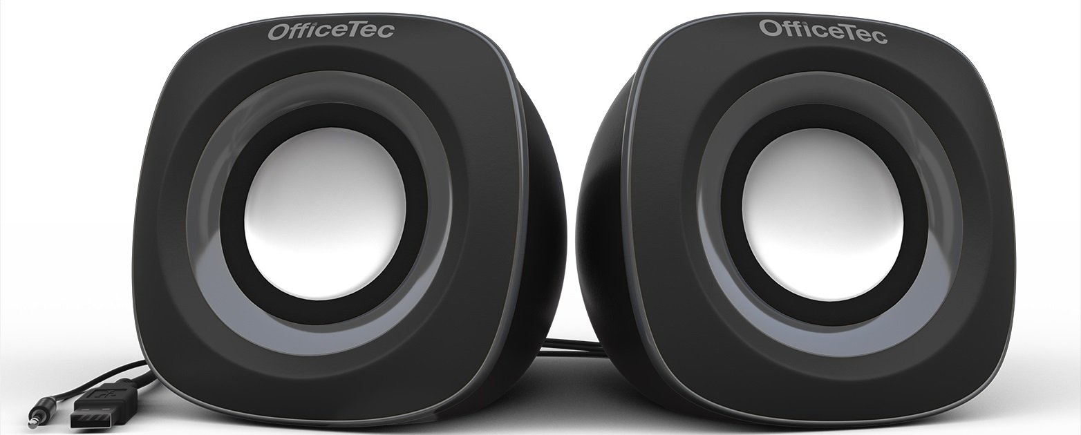 OfficeTec USB Computer Speakers Compact 2.0 System for Mac and PC (Gray) by OfficeTec (Image #2)