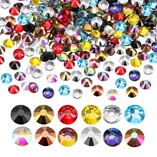 1440 Pack Crystal Flat Back Rhinestone Round Diamante Gems, Non-Self-adhesive (Multicolor, 5 ()