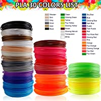 3D Pen Filament Refills, OUSI Upgrated 30 Vibrant Colors Kid 3D Printer 1.75mm PLA 3D Drawing Pen for Kids Pack 3 Finger Caps with 6 Glow in Dark High-Precision Diameter Filament Total 591 FT Lengths from OusiDirect