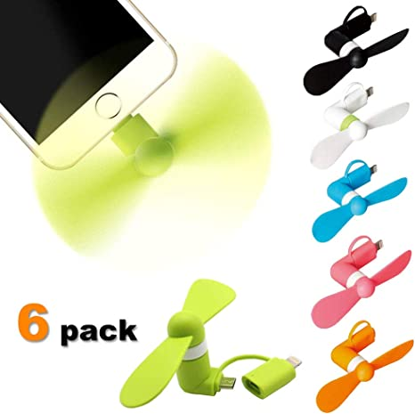 2-In-1 Mini Portable Micro USB Air Cooling Fan Travel Camping For Mobile IOS Iphone Android Samsung LG HTC Smartphones Green