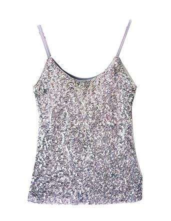 e40d1b456 Femmes Débardeur Paillettes sans Manches Slim Fit T-Shirt Haut Tops ...