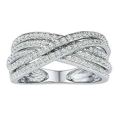Amazon com: Jewels By Lux 10kt White Gold Womens Round Diamond