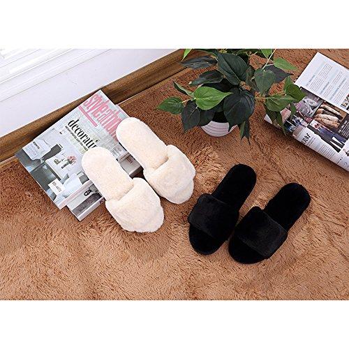 Peluche Bambin Confortable Chaud Bout Coton amp; Ouvert Noir Bebe Filles Pantoufles Chaussures Hiver Femmes Bozevon Chaussons ORq6H8xnw