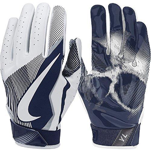 Navy Receiver Gloves (Nike Boys Vapor Jet 4 Football Receiver Gloves (White / College Navy, Small))