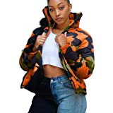 Women's Down Jacket Zipper Front Quilted Short Puffer Coat Stand Collar Cropped Long Sleeve Outerwear