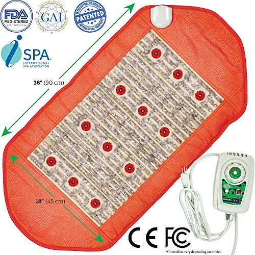 HL HEALTHYLINE - Infrared Heating Pad Wrap for Neck and Shoulders, Detox body and Eliminate Chronic Fatigue Naturally - with Red Light Therapy - Negative Ions - Healing Amethyst Gemstones FDA Reg Mfgr