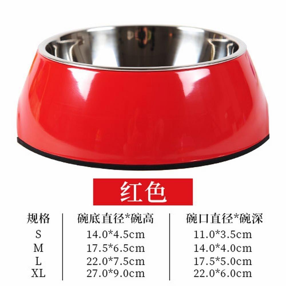 WU-pet Supplies The Dog Bowl Dog Bowl cat Bowl Stainless Steel Single Bowl pet Dog Supplies Large Dog Food Bowls Dog Food Bowls,M, Red
