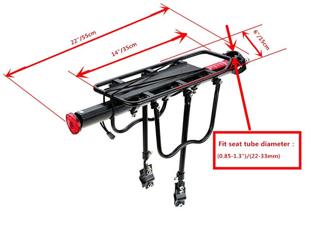 COMINGFIT 110 Lbs Capacity Aluminum Alloy Bicycle Rear Rack Adjustable Pannier Bike Luggage Cargo Rack Bicycle Carrier Racks by COMINGFIT (Image #4)