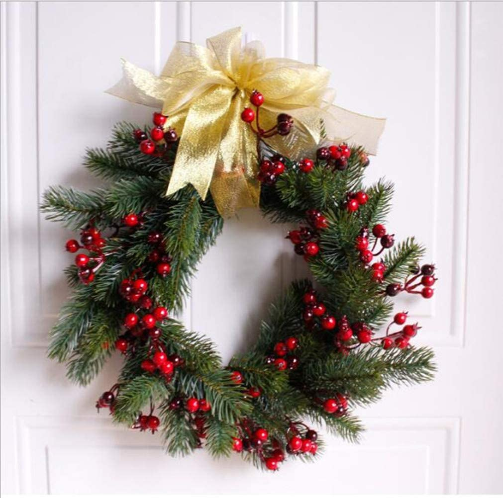 Amazon Artificial Lifelike Red Berry Wreaths for Front