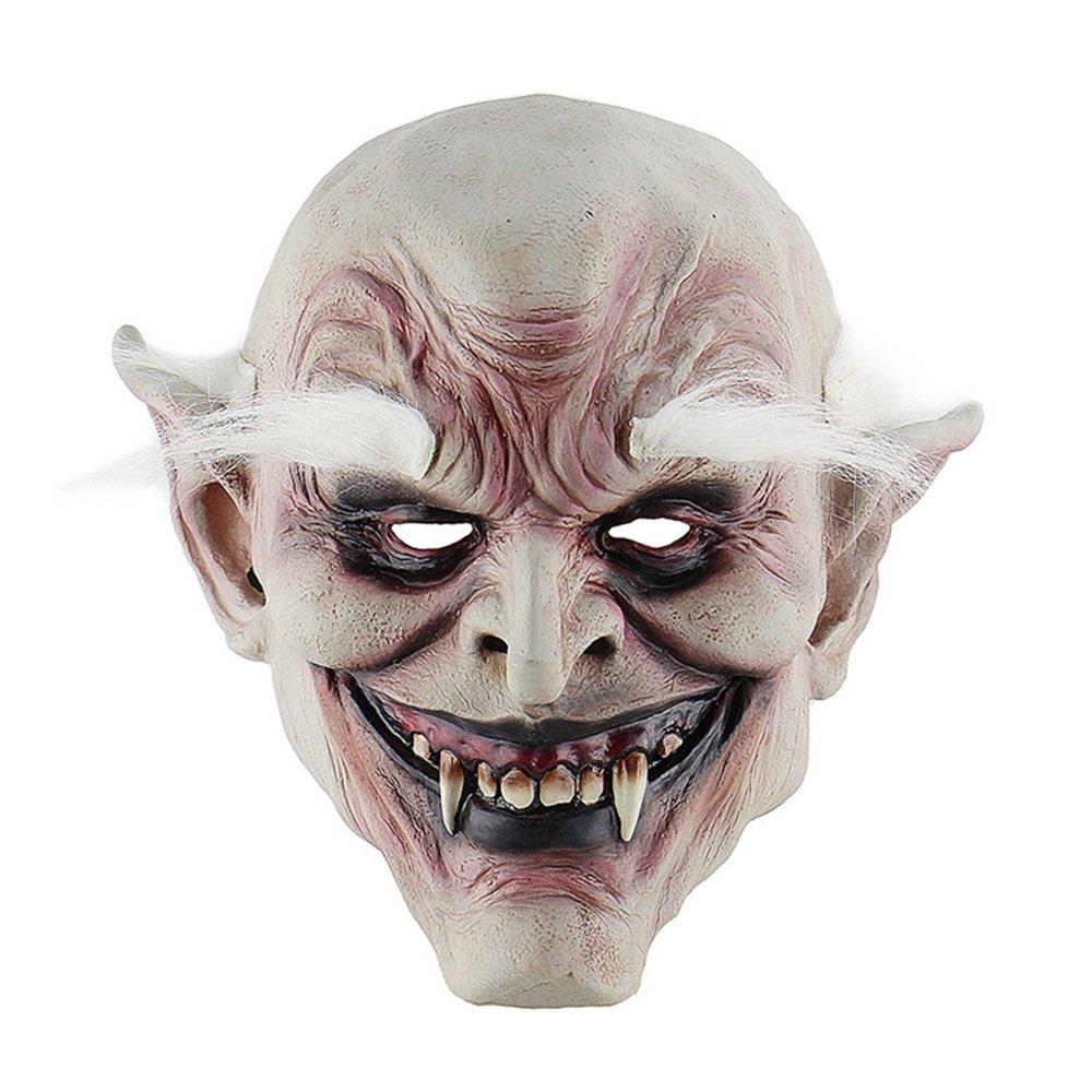 KTYX Diablo De Ceja Blanca Halloween Demonio Diablo De Terror Máscara Vampiro Comercio Exterior Casa Embrujada Vestido De Accesorios Campana De Látex Máscara