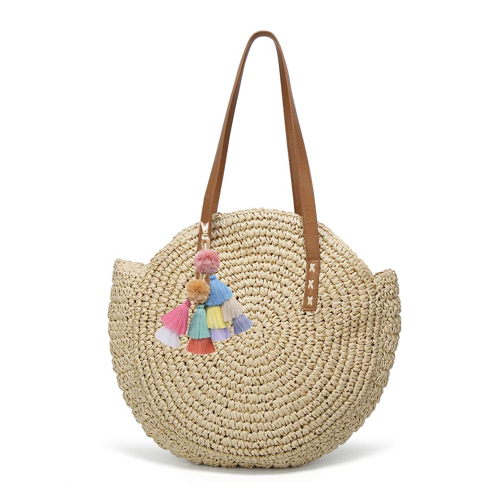 Women's Straw Handbags Large Summer Beach Tote Woven Round Pompom Handle Shoulder Bag by Caissip