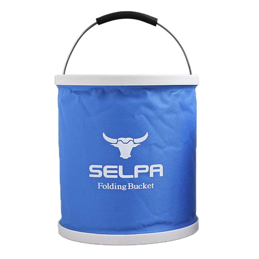 SUJING Multifunctional Collapsible Bucket, Outdoors Camping Water Container Compact Collapsible Bucket Water Container Folding Water Container (Blue) by SUJING (Image #1)