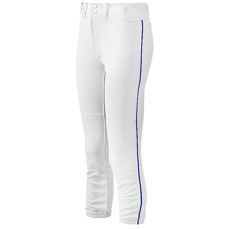 ミズノWomen 's Selectベルト付きPiped Softball Pants B00G3CQEGSホワイト/ロイヤル L