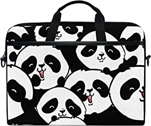 "SLHFPX Laptop Bag Black and White Panda Head 14"" 15"" Laptop Case Notebook Briefcase Tablet Handbag Sleeve Computer Backpack with Shoulder Strap Handle for Men Women Travel Business School"