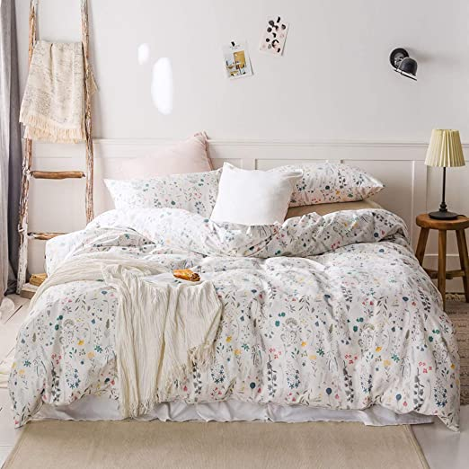 Floral Duvet Cover 100/% Cotton Soft Bedding Set Reversible Queen//King