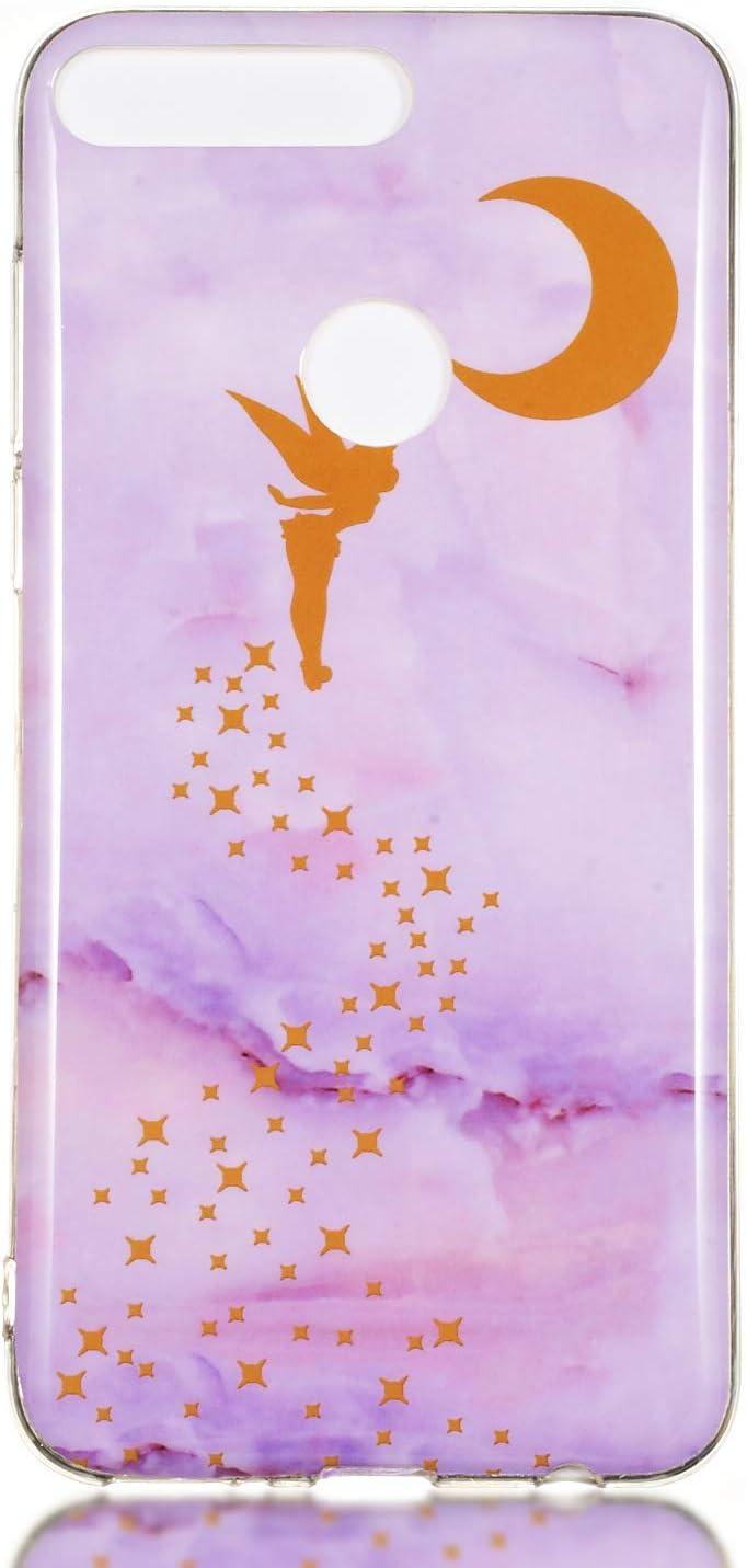 Y7 Prime// Y7 2018 Silicone Motif Marbre pour Filles Femmes Homme ChoosEU Souple Coque pour Huawei Honor 7C Etui Mince /Étui Ultra Fine Antichoc Housse Mince Case Soft Protection Couleur