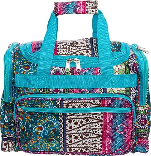 (Womens 16 inch Duffel Carry-On Travel Bag (Bohemian w/Turquoise Trim) )