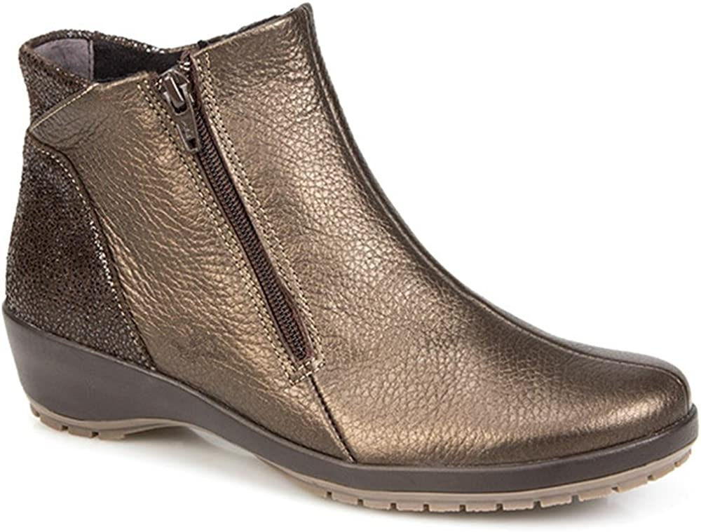 Fly Flot Womens Dual-Zip Leather Ladies Ankle Boots