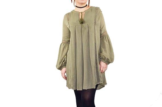 0b9699c1479 Robe-Tunique Femme Kaki Originale Bohémienne Manches Bouffantes (ML ...